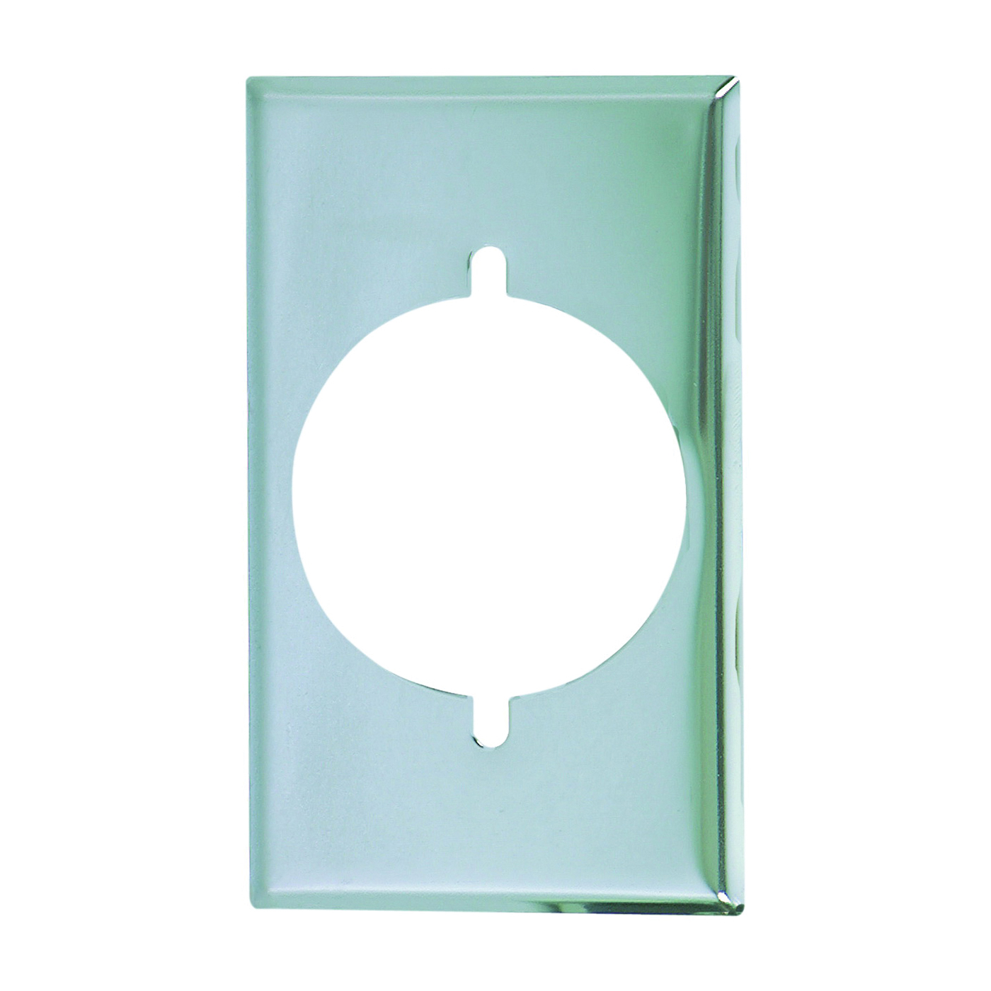 Picture of Eaton Wiring Devices 39CH-BOX Power Outlet Wallplate, 4-1/2 in L, 2-3/4 in W, 1-Gang, Chrome, Ivory/White, Chrome