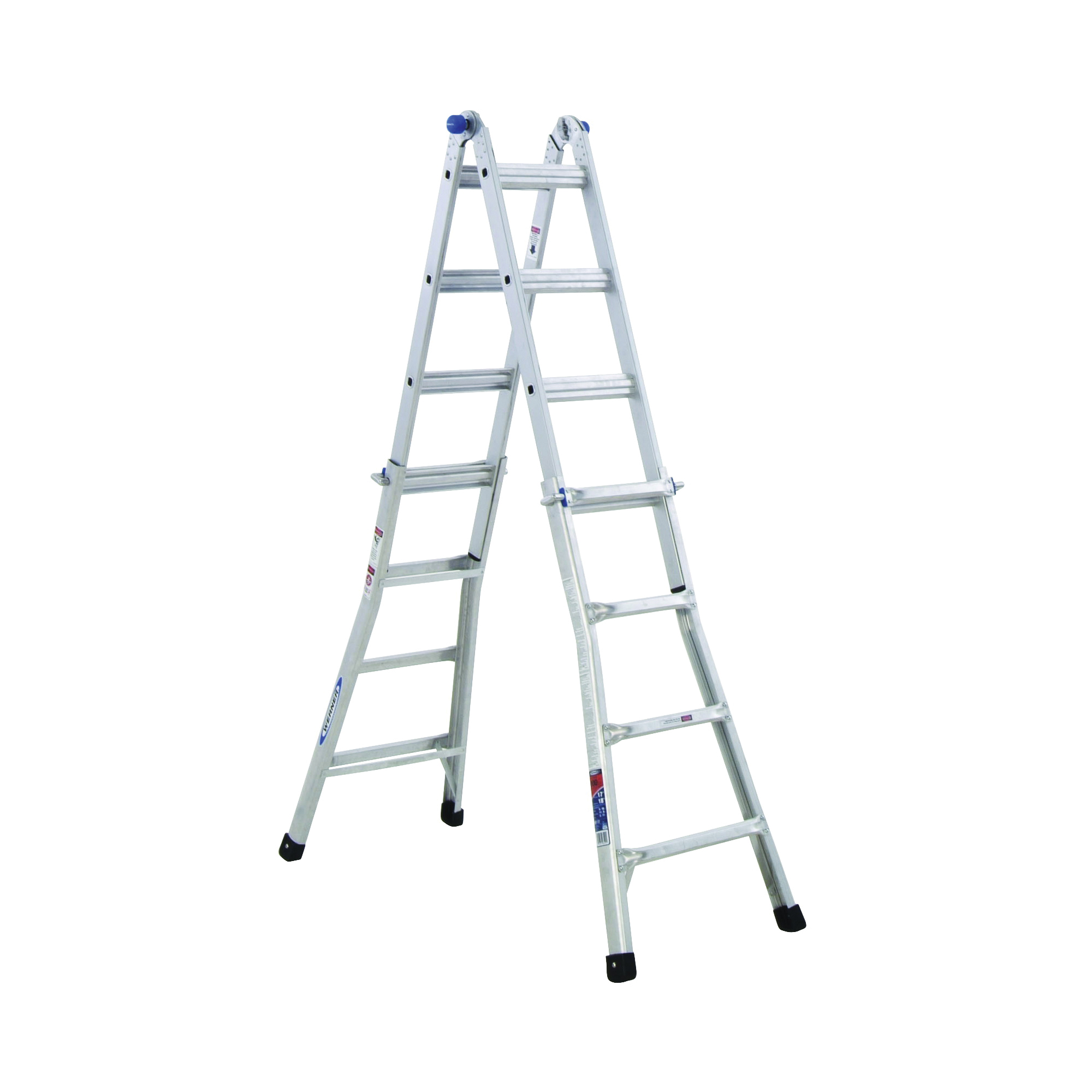 Picture of WERNER MT-17 Telescoping Multi-Ladder, 18 ft 1 in Max Reach H, 16-Step, 300 lb, Type IA Duty Rating, Aluminum