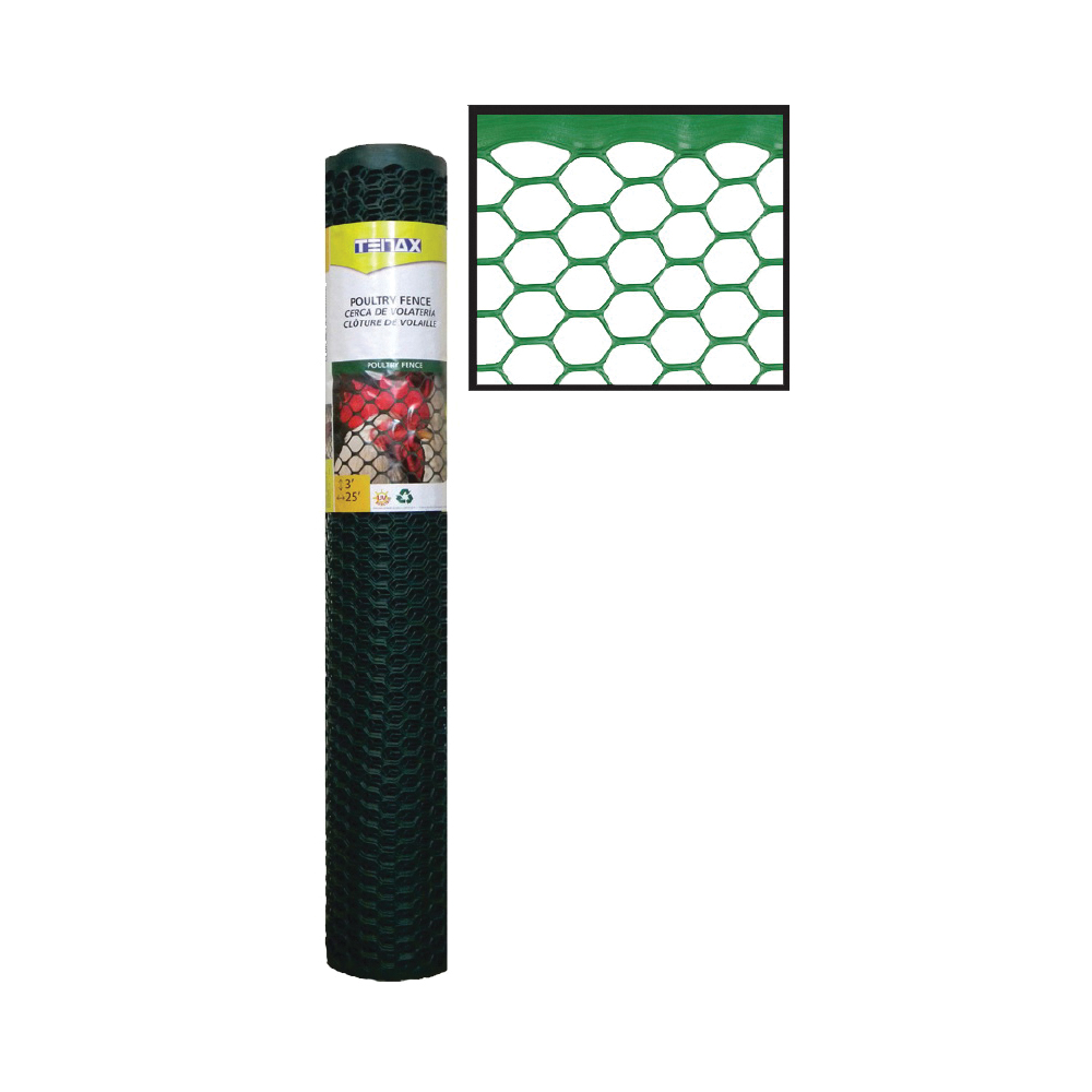 Picture of TENAX 72120942 Poultry Fence, 25 ft L, 2 ft W, 3/4 x 3/4 in Mesh, Plastic, Green