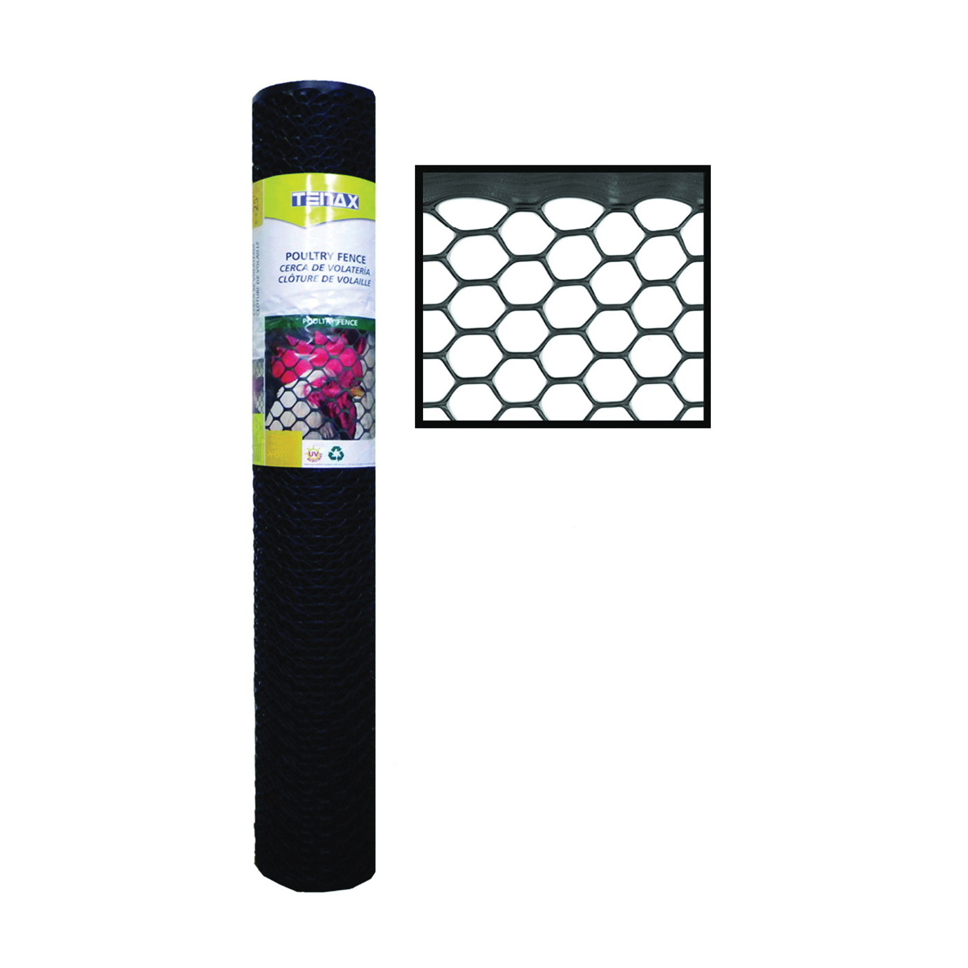 Picture of TENAX 72120346 Poultry Fence, 50 ft L, 4 ft W, 3/4 x 3/4 in Mesh, Plastic, Black