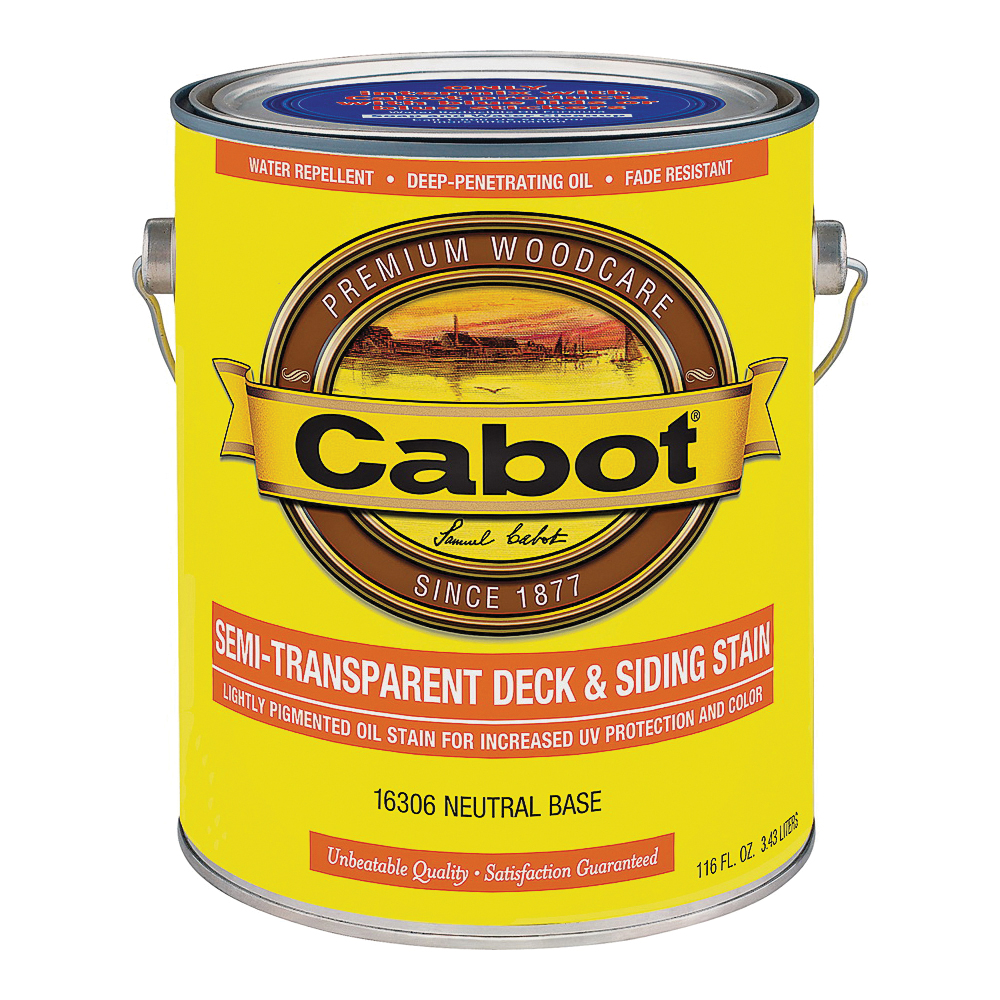 Picture of Cabot 16306 Deck and Siding Stain, Flat, Neutral Base, Liquid, 1 gal