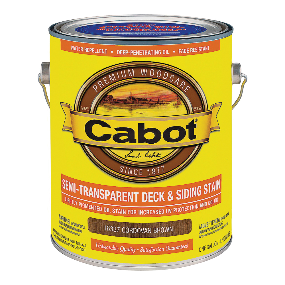 Picture of Cabot 16337 Deck and Siding Stain, Cordovan Brown, Liquid, 1 gal