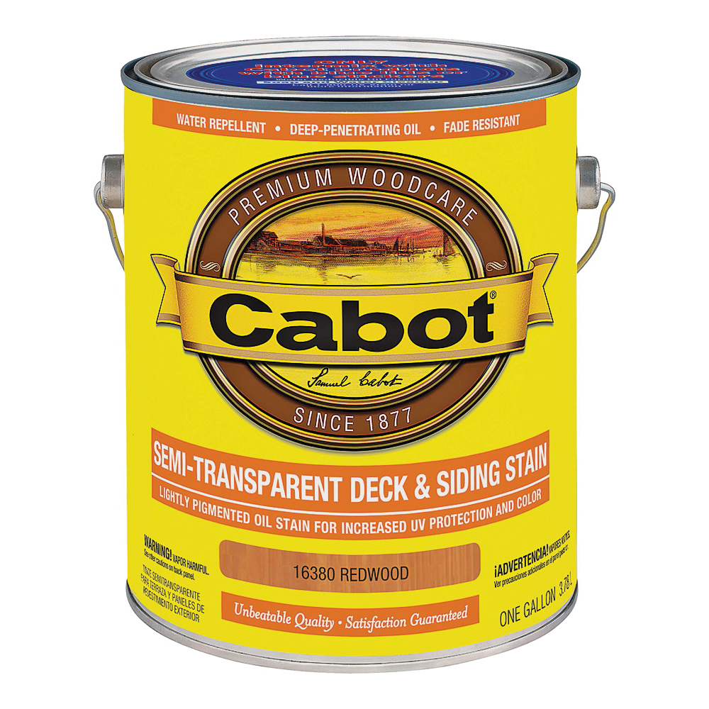 Picture of Cabot 16380 Deck and Siding Stain, Redwood, Liquid, 1 gal
