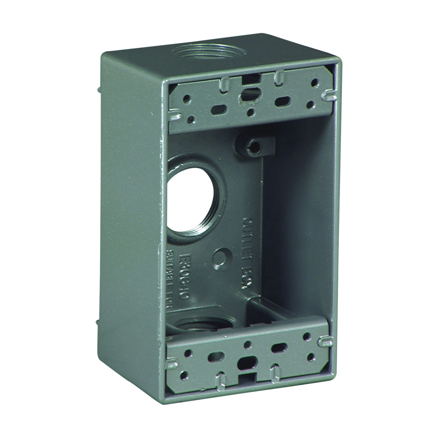 Picture of Eaton Wiring Devices 1116-SP Outlet Box, 3-Outlet, 1-Gang, Aluminum, Black, Powder-Coated, Wall Mounting
