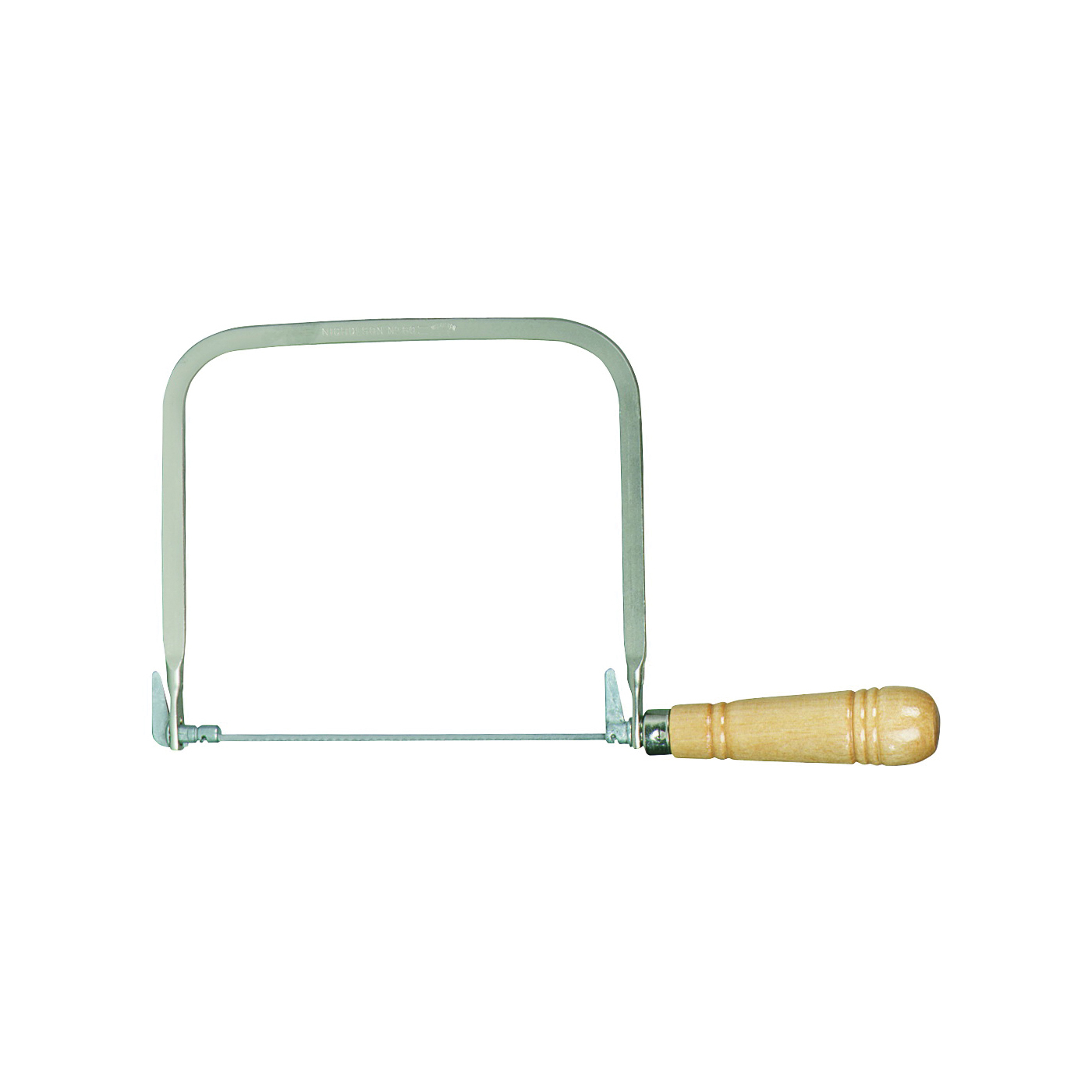 Picture of Crescent Nicholson 80176 Coping Saw, 6-1/2 in L Blade, 15 TPI, Steel Blade, Straight Handle, Wood Handle