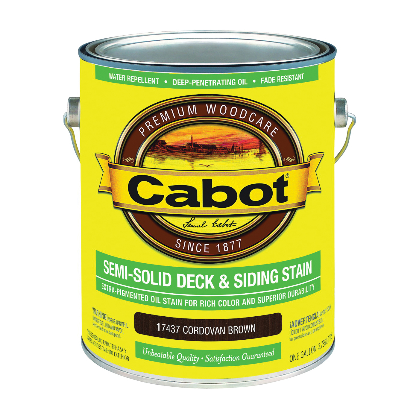Picture of Cabot 17437 Deck and Siding Stain, Cordovan Brown, Liquid, 1 gal