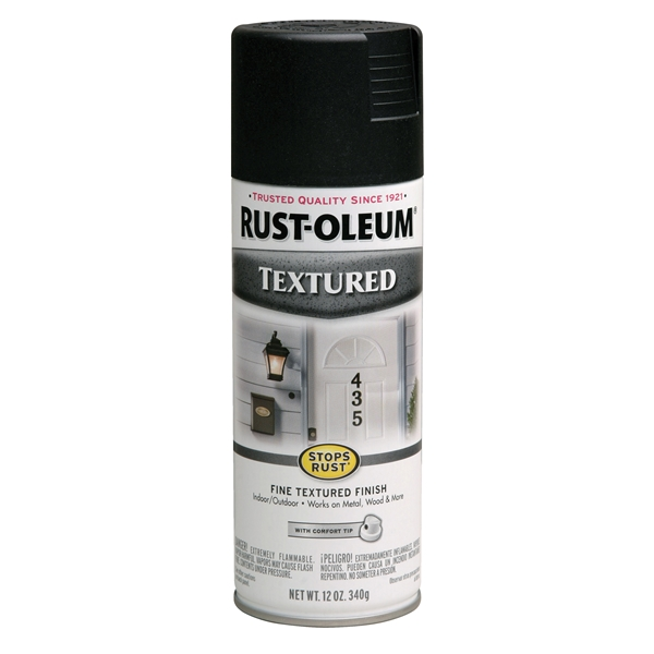Picture of RUST-OLEUM STOPS RUST 7220830 Textured Spray Black, Solvent-Like, Black, 12 oz, Aerosol Can
