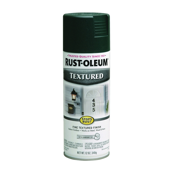 Picture of RUST-OLEUM STOPS RUST 7222830 Textured Spray Forest Green, Solvent-Like, Forest Green, 12 oz, Aerosol Can