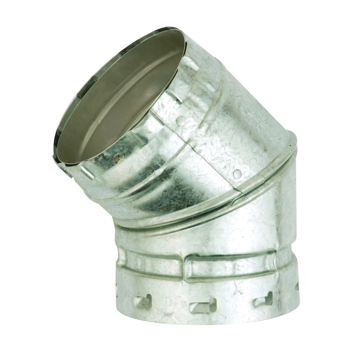 Picture of AmeriVent 3E45 Elbow, 3 in Connection, 0.018/0.012 Gauge, Aluminum/Steel, Galvanized