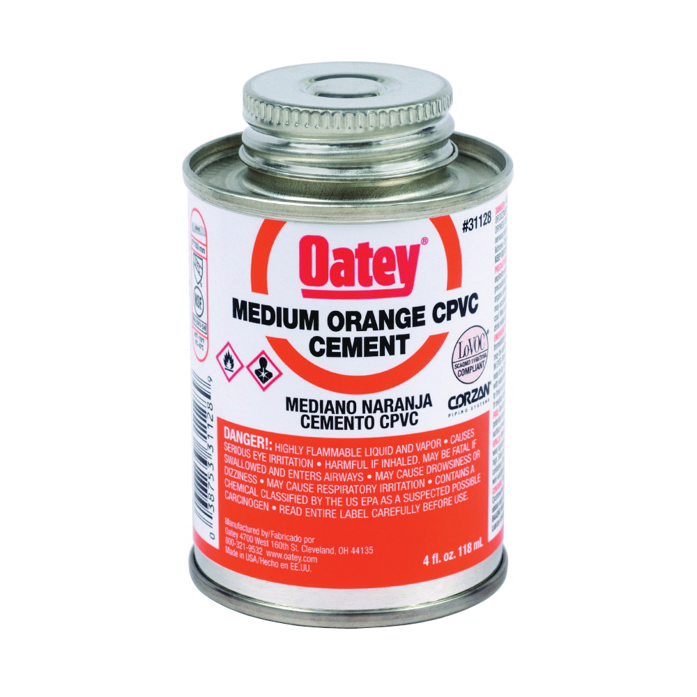 Picture of Oatey 31128 Solvent Cement, 4 oz, Can, Liquid, Orange