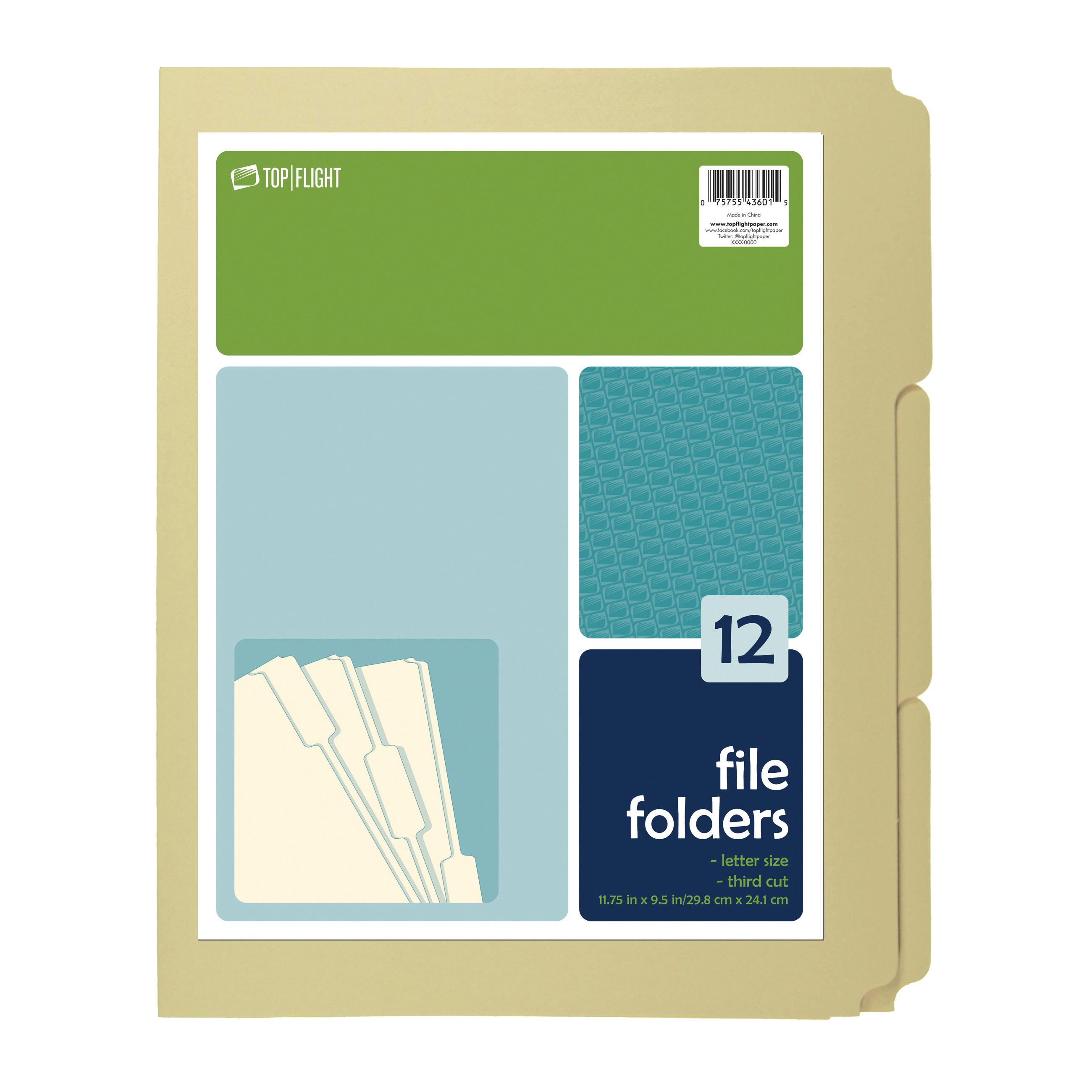 Picture of TOP FLIGHT 4611415 File Folder, 12 x 9-1/2 in Sheet, 12 Sheet, Plain Tab