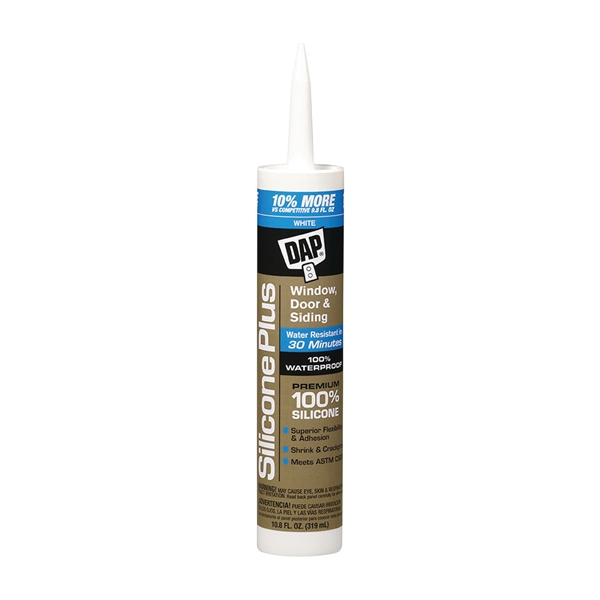 Picture of DAP Silicone Plus 08780 Window and Door Sealant, White, -40 to 300 deg F, 10.1 fl-oz Package, Cartridge
