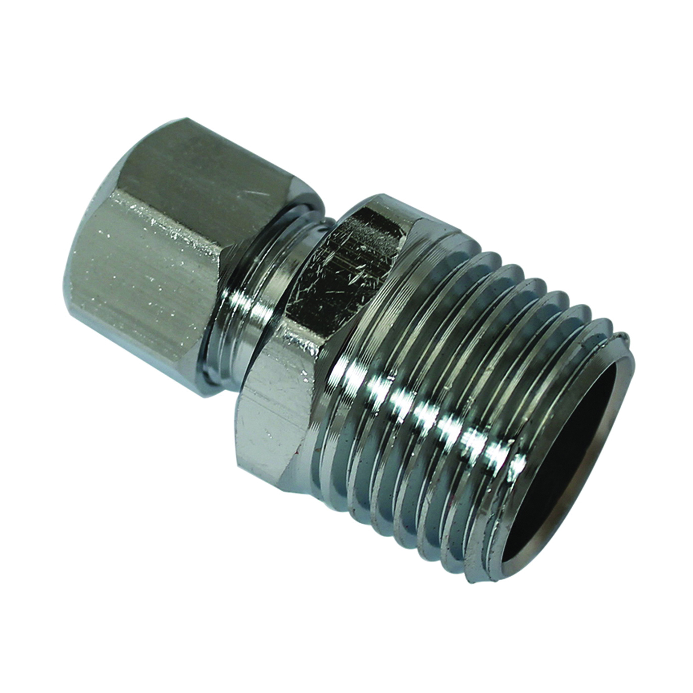 Picture of Plumb Pak PP74PCLF Straight Adapter, 1/2 x 3/8 in, MIP x Compression, Chrome