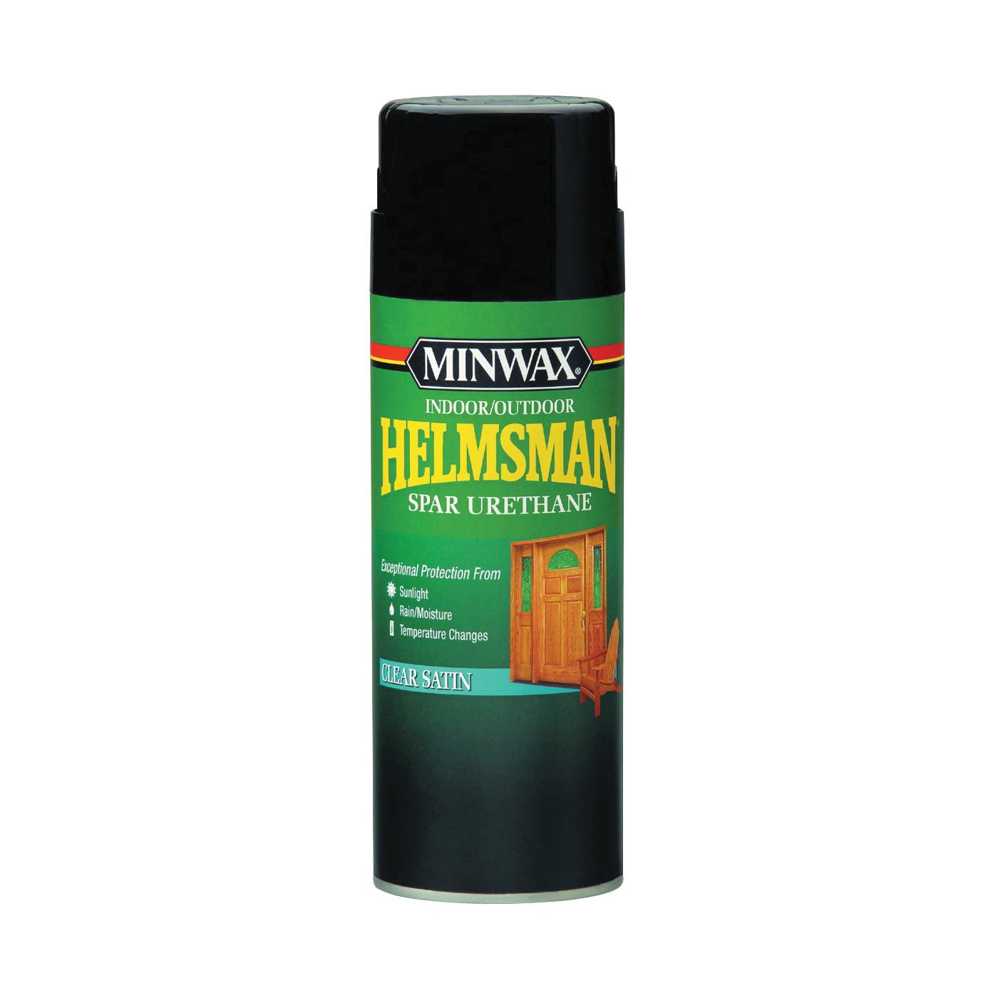 Picture of Minwax Helmsman 33255000 Spar Urethane Paint, Clear Satin, Clear, Liquid, 11.5 oz, Aerosol Can