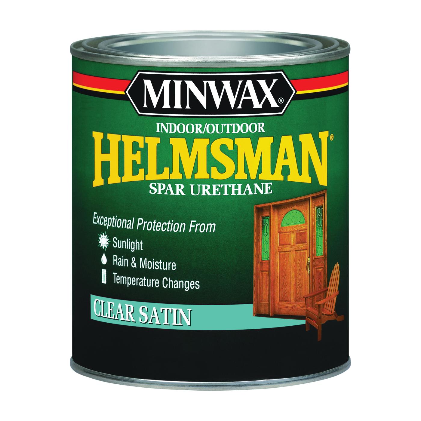 Picture of Minwax Helmsman 43205000 Spar Urethane Paint, Satin, Clear, Liquid, 1 pt, Can