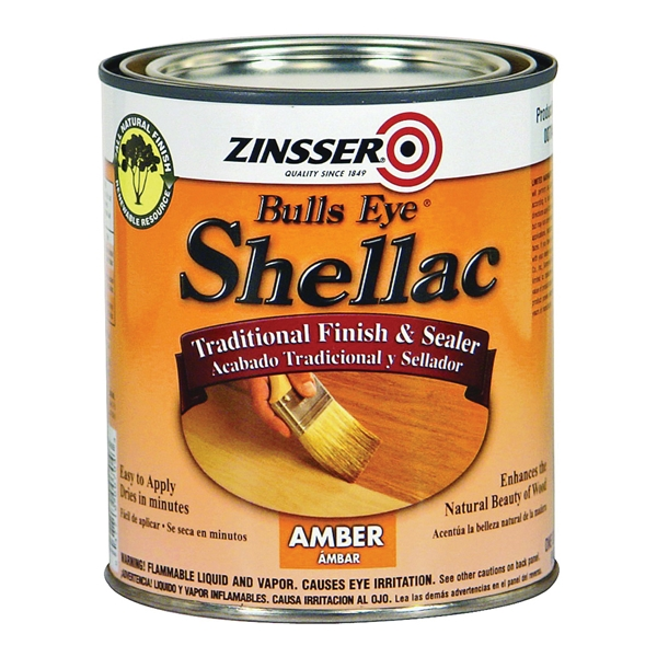 Picture of ZINSSER Bulls Eye 00716 Shellac, Mid-Tone, Amber, Liquid, 0.5 pt, Can