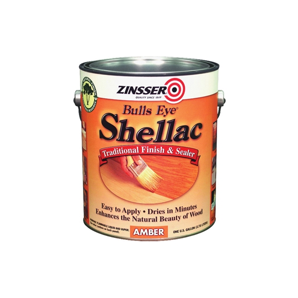 Picture of ZINSSER Bulls Eye 00701 Shellac, Mid-Tone, Amber, Liquid, 1 gal, Can