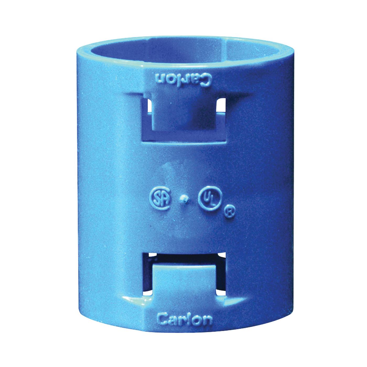 Picture of Carlon A240E-CAR Conduit Coupling, 3/4 in Trade, 1.856 in L, Polycarbonate, Blue