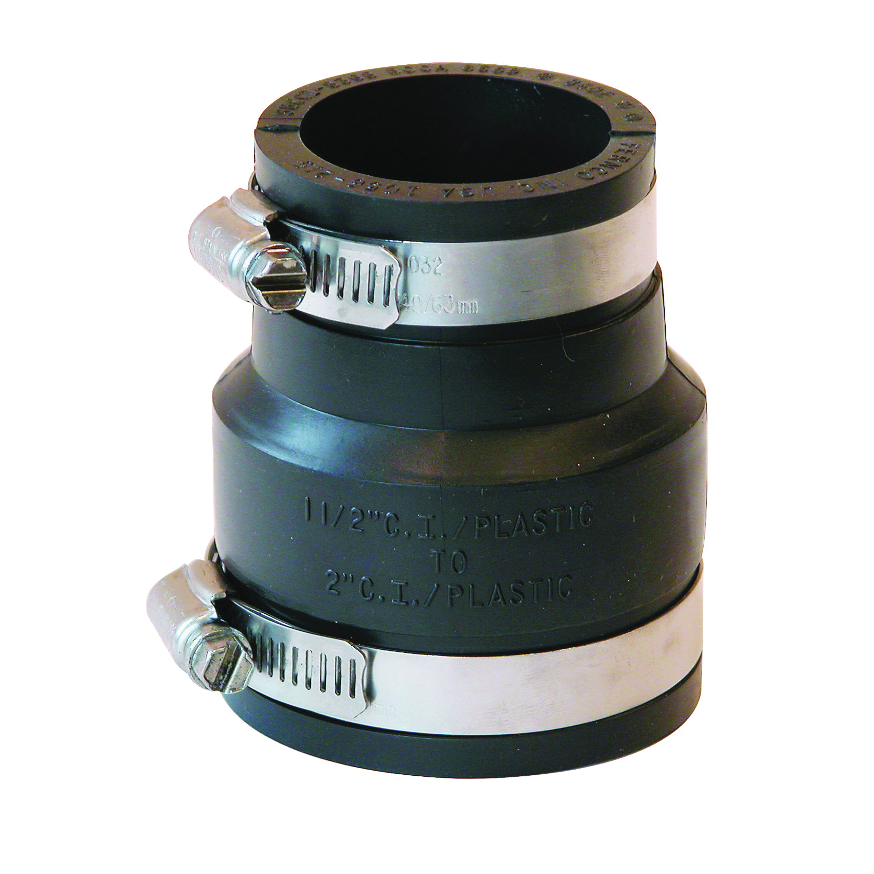 Picture of FERNCO P1056-215 Flexible Pipe Coupling, 2 x 1-1/2 in, PVC, Black, 4.3 psi Pressure
