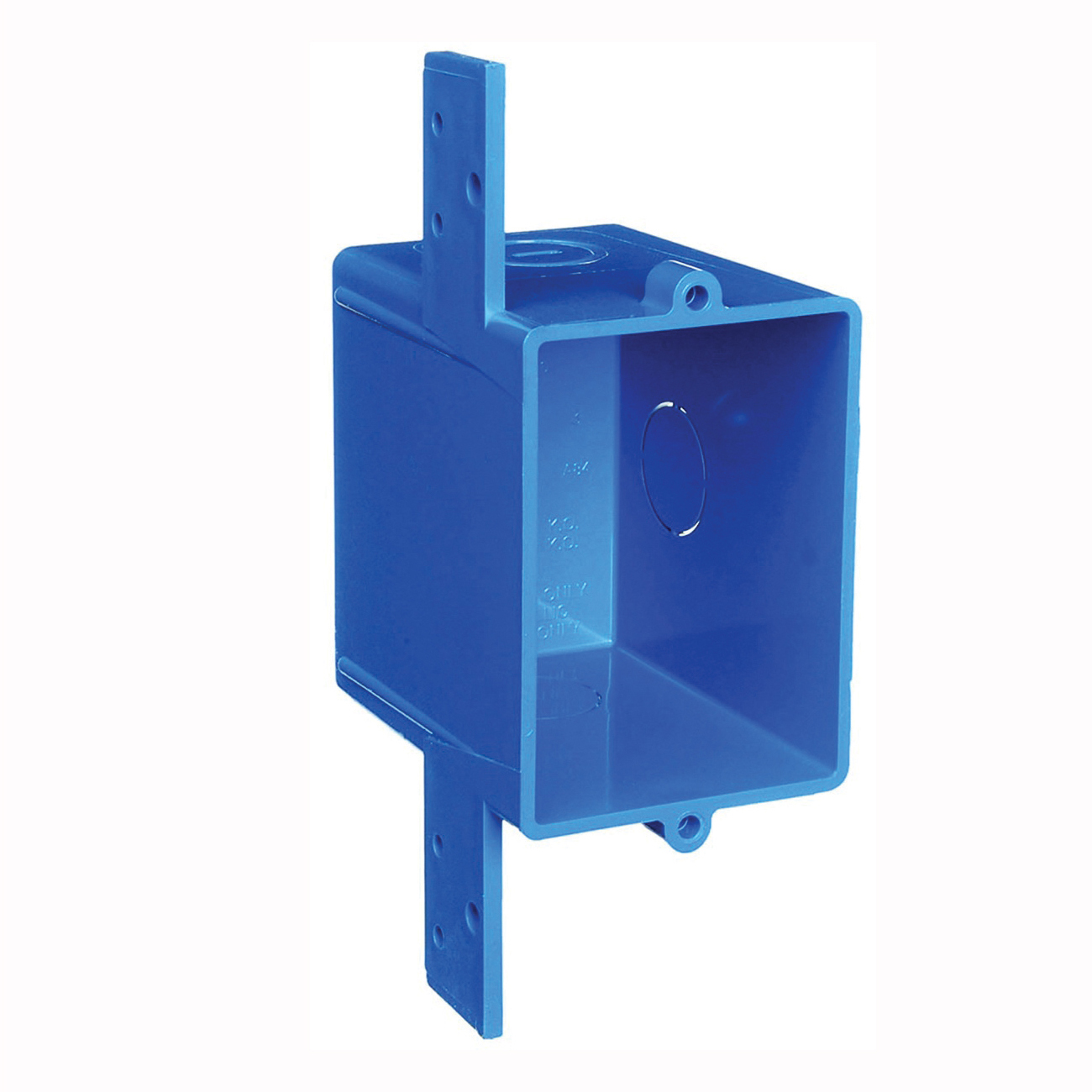 Picture of Carlon A58381D-CAR Outlet Box, 1-Gang, 3-Knockout, 1/2 in Knockout, PVC, Blue, Bracket Mounting