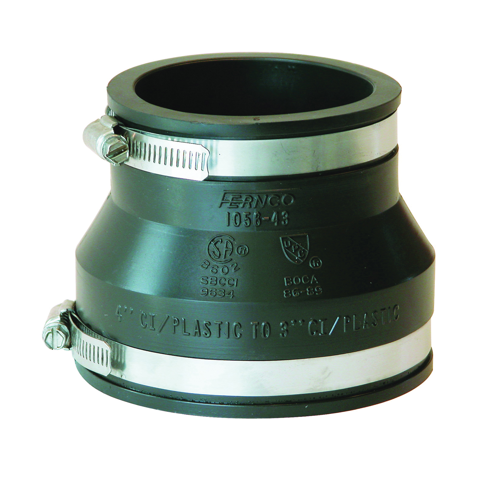 Picture of FERNCO P1056-43 Flexible Pipe Coupling, 4 x 3 in, PVC, Black, 4.3 psi Pressure