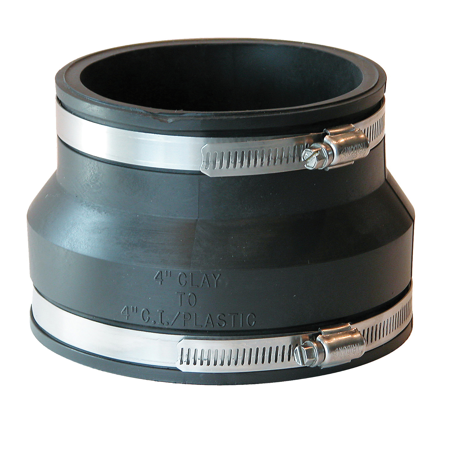 Picture of FERNCO P1002-44 Flexible Pipe Coupling, 4 x 4 in, PVC, Black, 4.3 psi Pressure