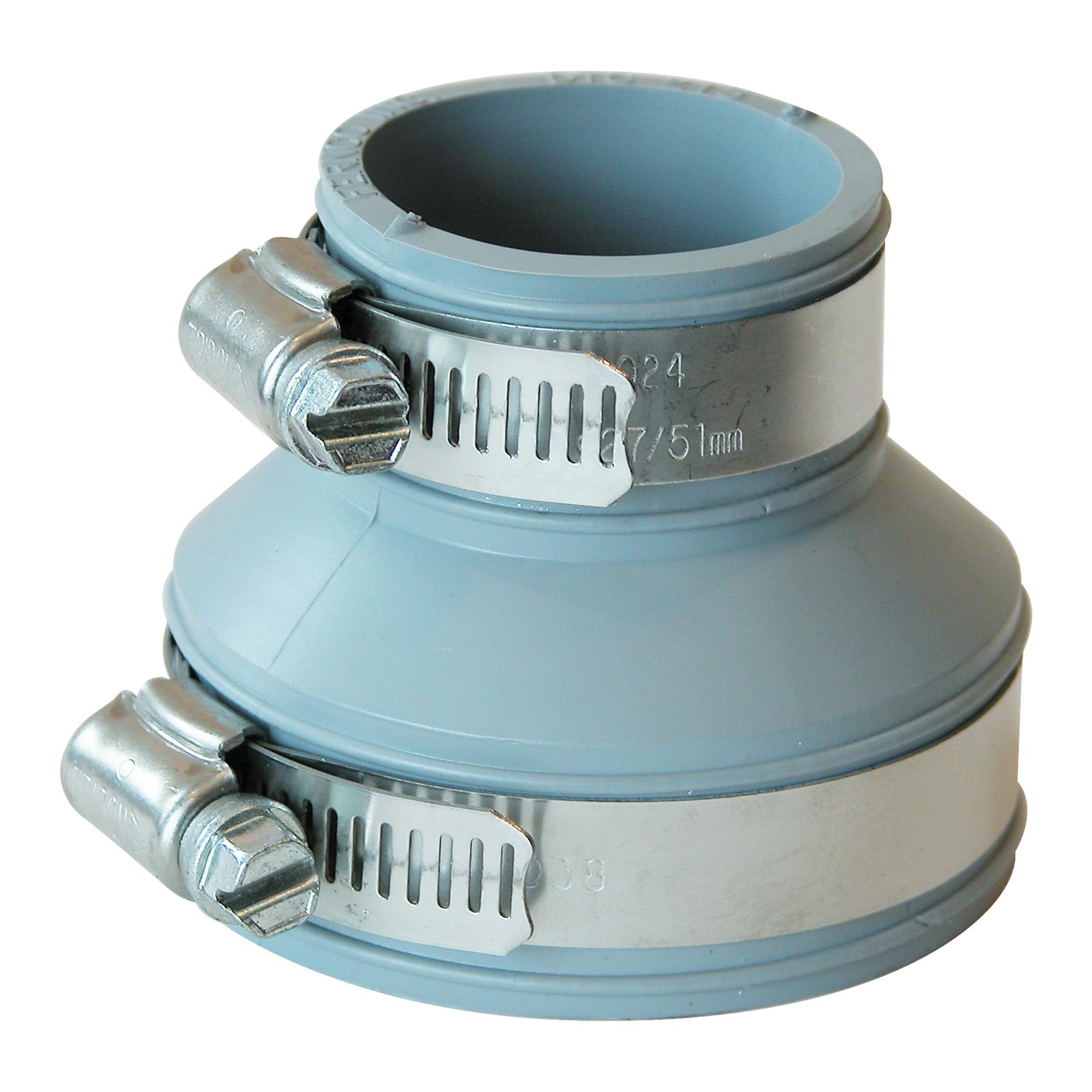 Picture of FERNCO PDTC-215 Drain Trap Connector, 1-1/4 x 2 in, PVC, 4.3 psi Pressure