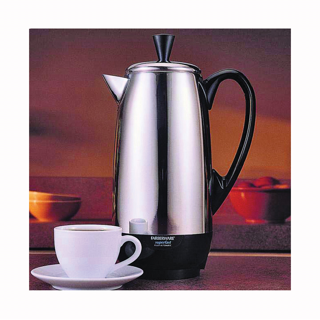 Picture of FARBERWARE FCP412 Electric Percolator, 2 to 12 Cup Capacity, 1 W, Stainless Steel, Knob Control