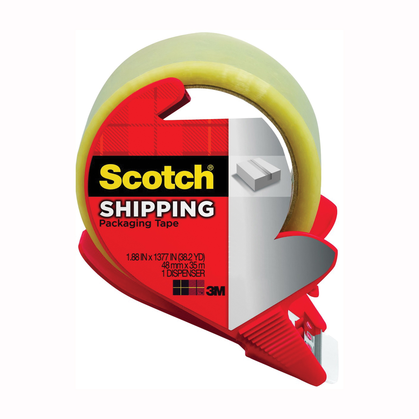 Picture of Scotch 3350S-RD Packaging Tape, 54.6 yd L, 1.88 in W, Polypropylene Backing, Clear