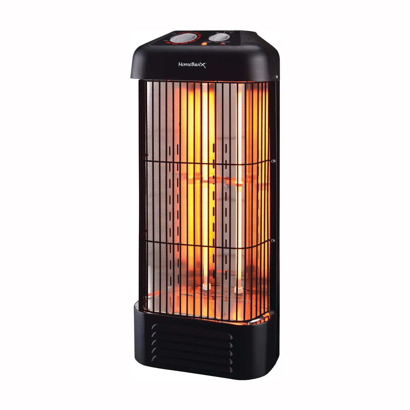 Picture of PowerZone CZQTV8 Infrared Quartz Tower Heater. 750/1500W, 12.5 A, 120 V, 750/1500 W, 5118.2 Btu, Black