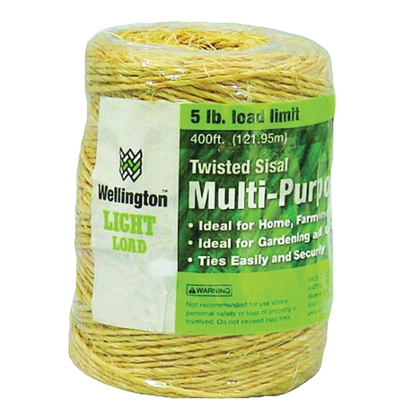 Picture of Wellington 43887 1-Ply Sisal Twine, 400 ft L, 5 lb Working Load, Sisal, Natural Tan