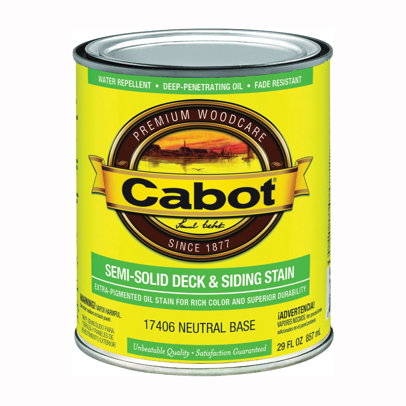 Picture of Cabot 17400 Series 17406 Deck and Siding Stain, Neutral Base, Liquid, 1 qt, Can