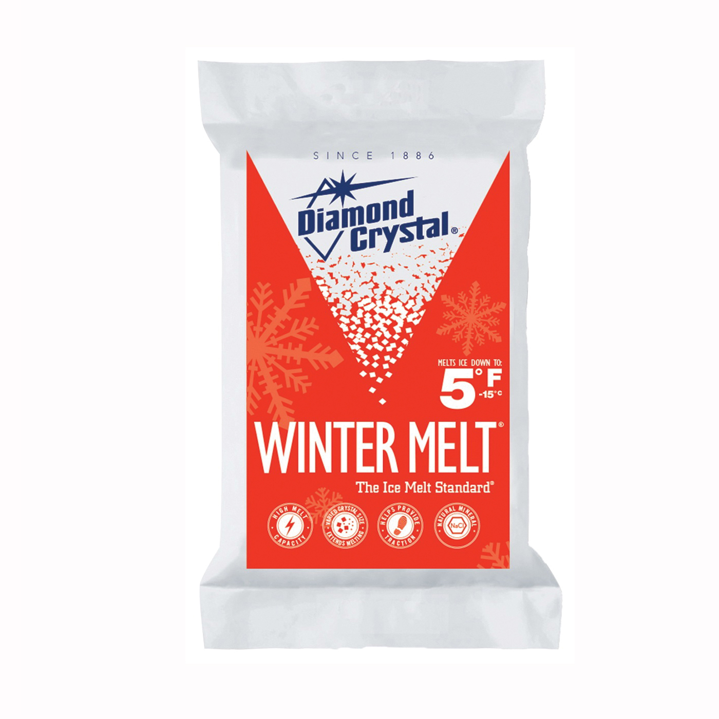 Picture of Cargill Diamond Crystal Winter Melt 100012605 Ice Melter Salt, Crystalline Solid, White, 50 lb Package, Bag