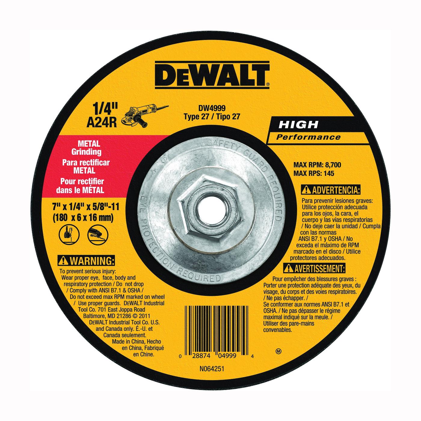 Picture of DeWALT DW4999 Grinding Wheel, 7 in Dia, 1/4 in Thick, 5/8-11 in Arbor, 24 Grit, Aluminum Oxide Abrasive