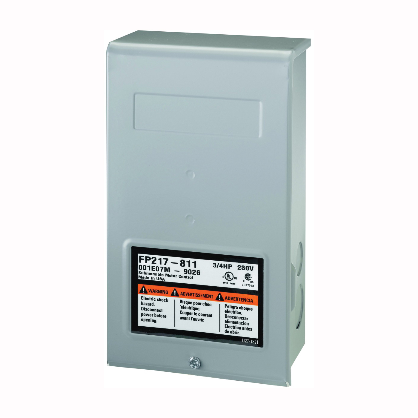 Picture of Flotec FP217-811 Control Box, 230 V, 0.75 hp, 3-Wire, Multiple Size Electrical Knockout, NEMA 3R Enclosure
