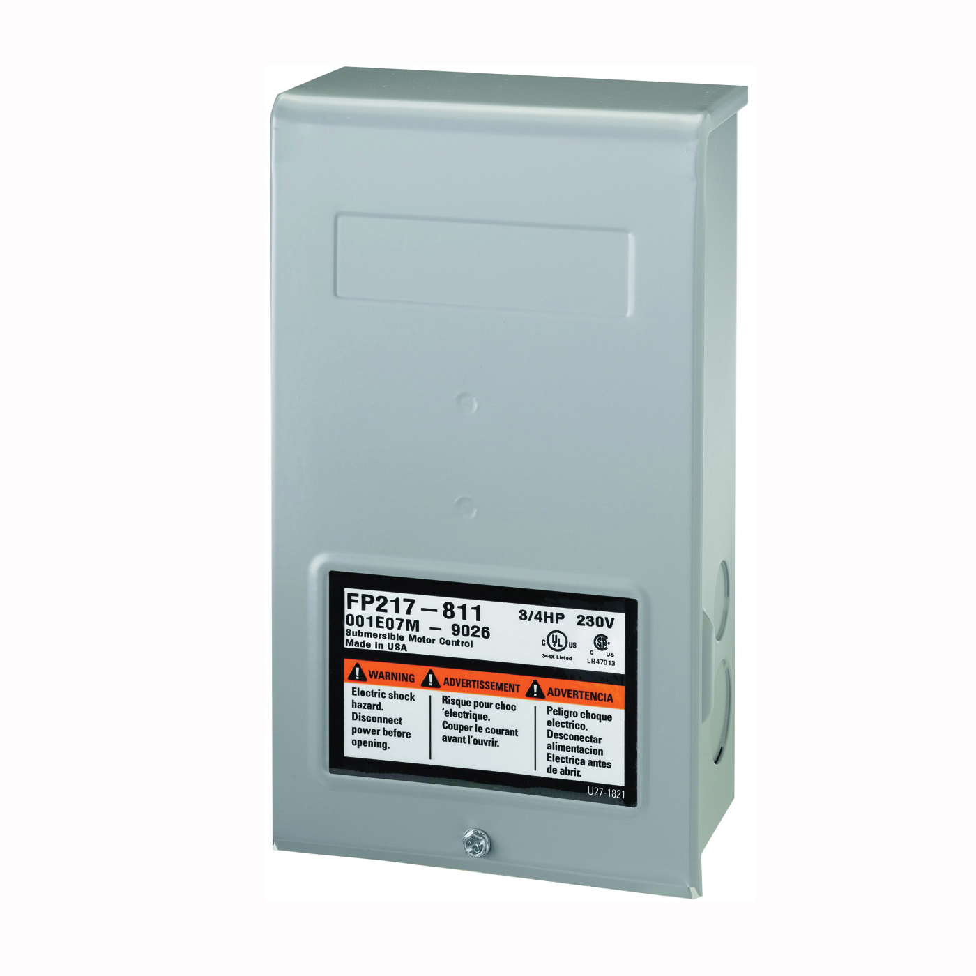 Picture of Flotec FP217-812 Control Box, 230 V, 1 hp, 3-Wire, Multiple Size Electrical Knockout, NEMA 3R Enclosure