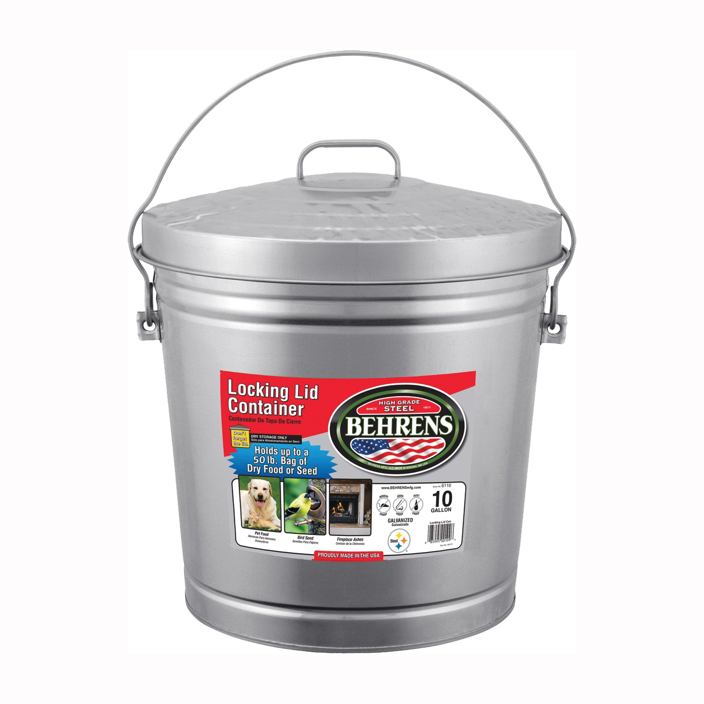 Picture of Behrens 6110 Locking Lid Can, 10 gal Capacity, Galvanized Steel, Silver