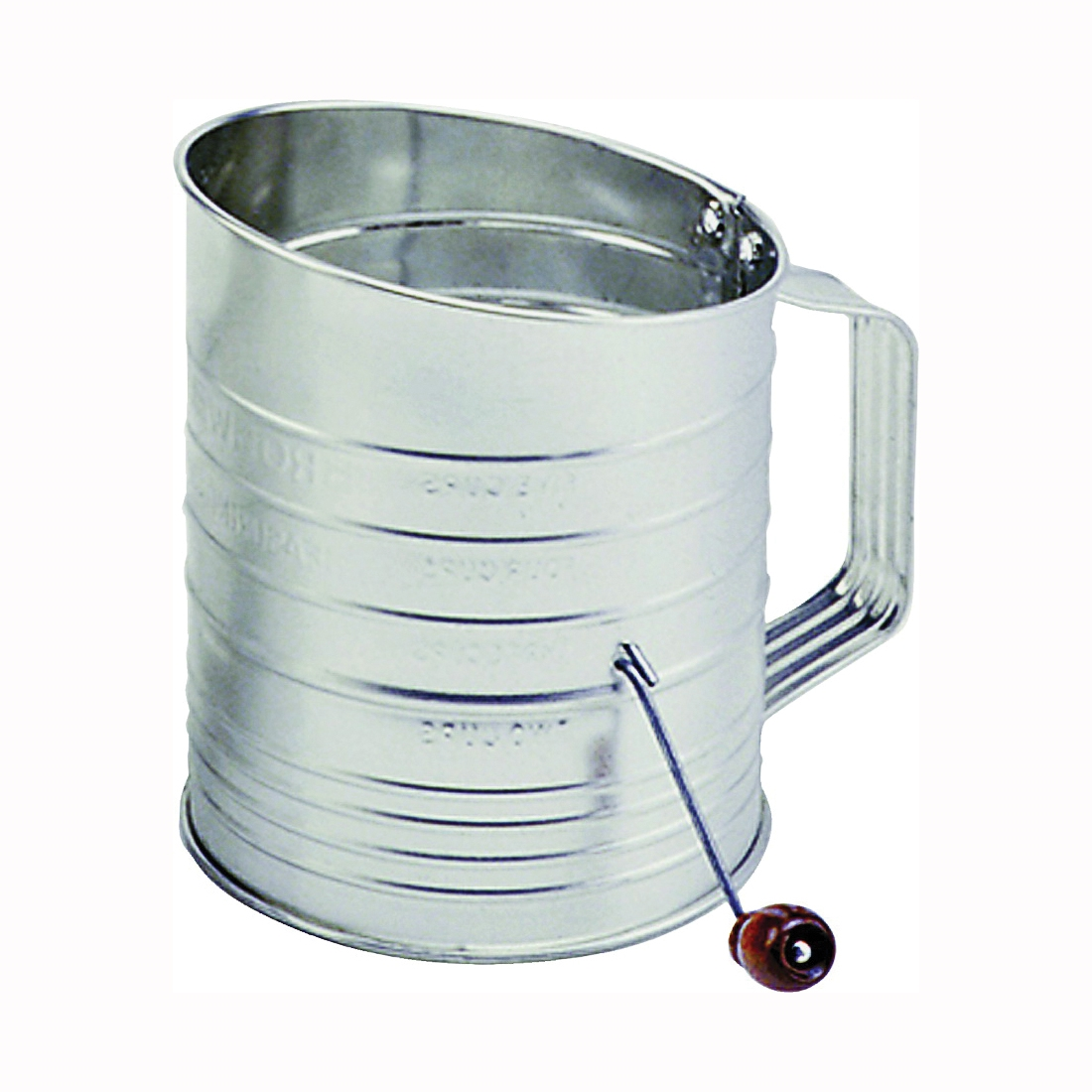 Picture of NORPRO 137 Hand Crank Sifter, 40 oz Capacity, 5 in H, Stainless Steel