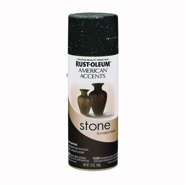 Picture of RUST-OLEUM AMERICAN ACCENTS 7991830 Stone Spray Paint Black Granite, Solvent-Like, Black Granite, 12 oz, Aerosol Can