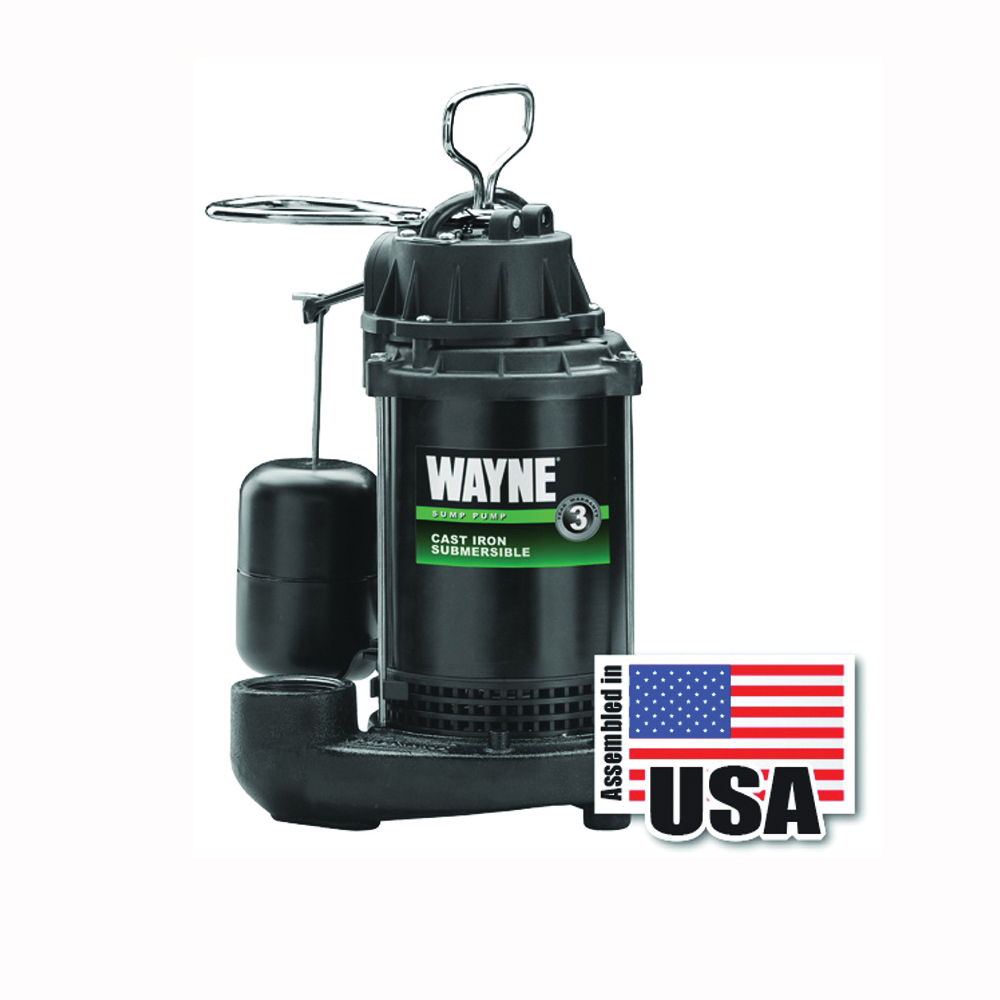 Picture of WAYNE CDU790 Sump Pump, 1-Phase, 9.5 A, 120 V, 0.33 hp, 1-1/2 in Outlet, 20 ft Max Head, 1200 gph, Iron