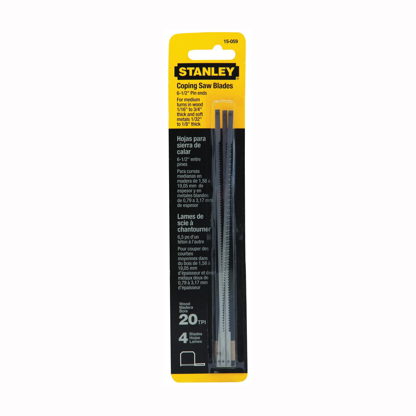Picture of STANLEY 15-059 Coping Saw Blade, 6-1/4 in L, 20 TPI, HCS Cutting Edge, 4, Pack