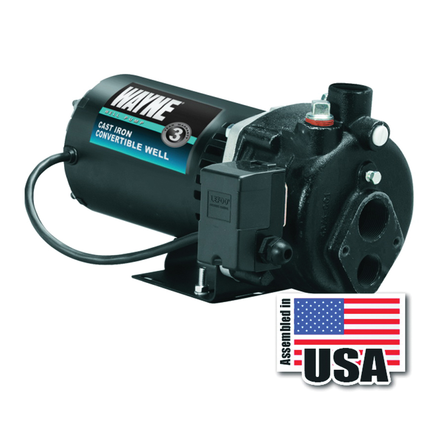 Picture of WAYNE CWS50 Jet Well Pump, 120/240 V, 0.5 hp, 1-1/4 in Suction, 3/4 in Discharge Connection, 90 ft Max Head, Iron