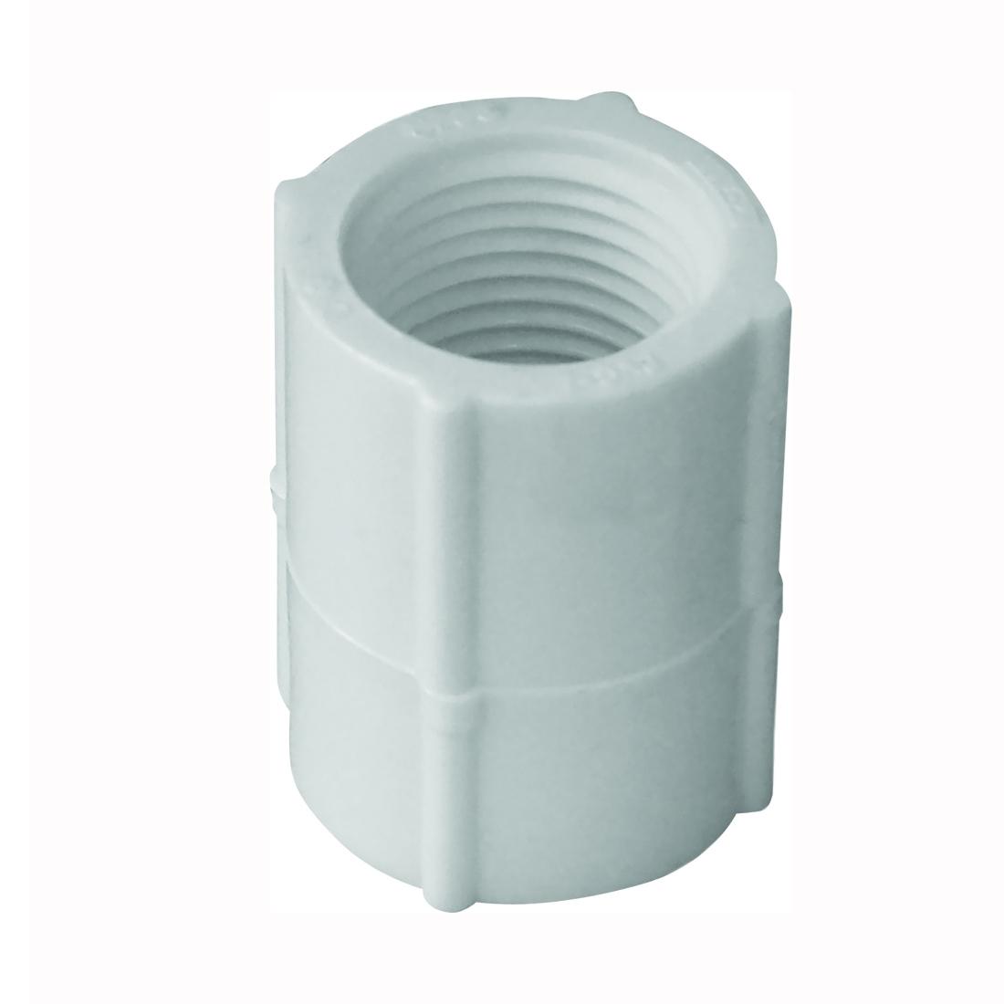 Picture of GENOVA 300 Series 30127 Pipe Coupler, 3/4 in, FIP, White, SCH 40 Schedule, 480 psi Pressure