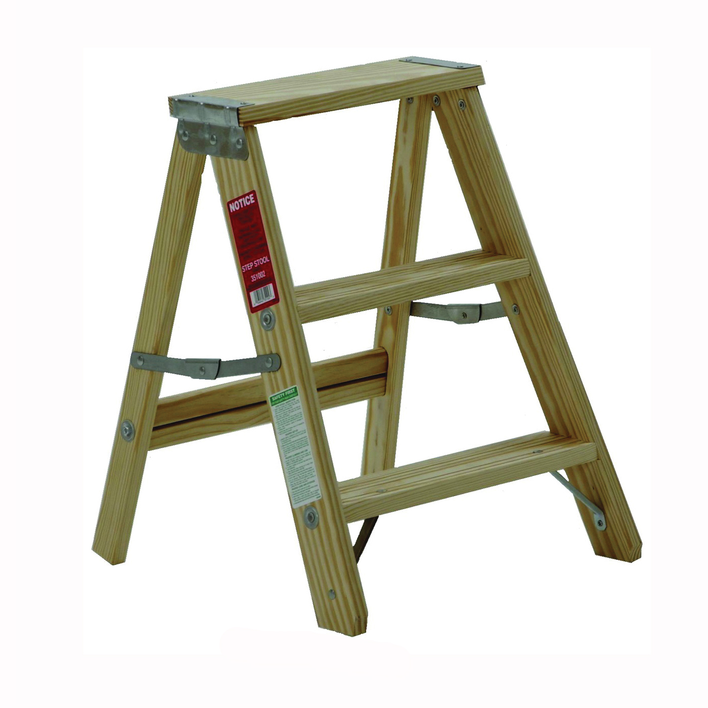 Picture of MICHIGAN LADDER 1100-02 Step Ladder, 200 lb, Type III Duty Rating, Wood, Pine