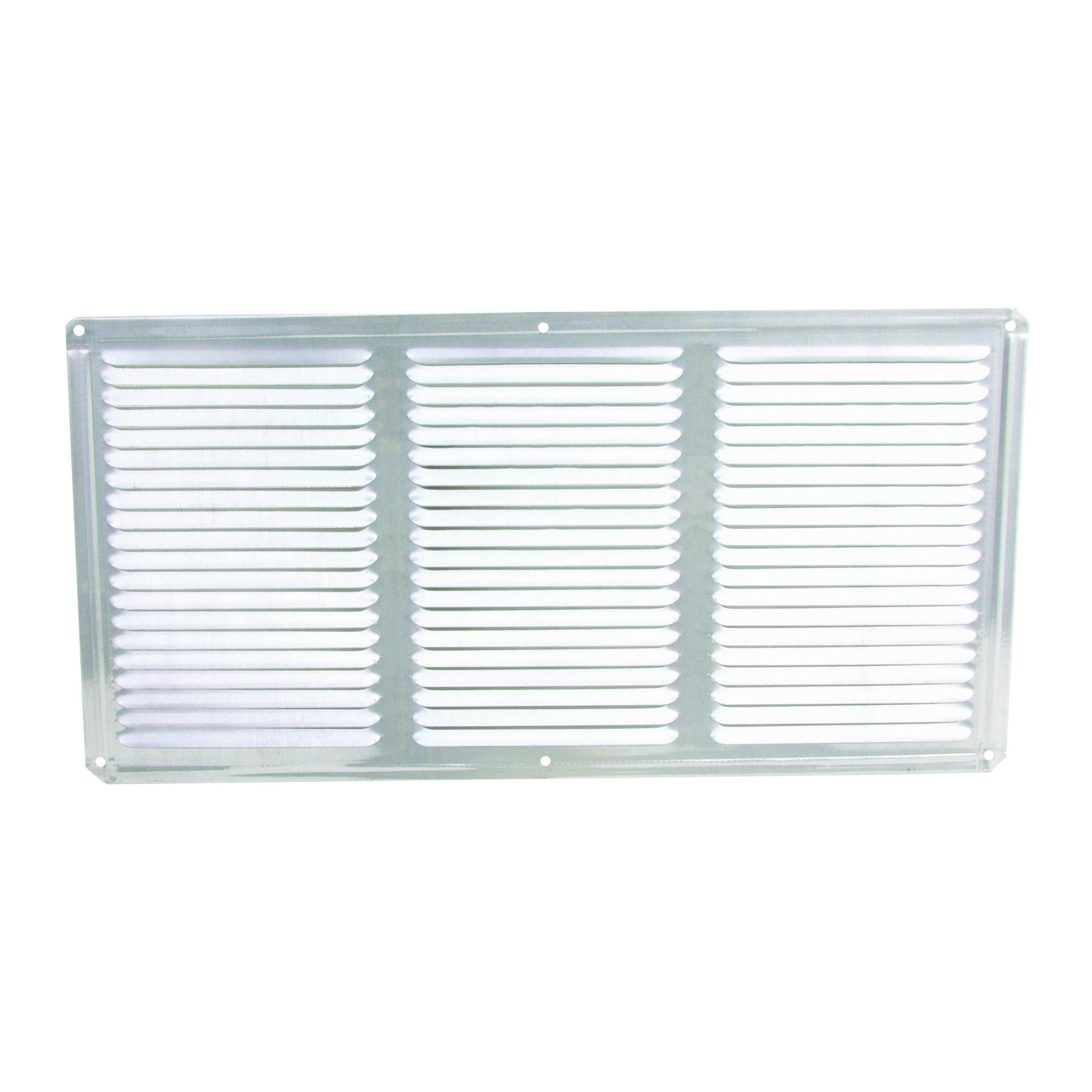 Picture of Master Flow EAC16X8 Undereave Vent, 8 in L, 16 in W, 65 sq-ft Net Free Ventilating Area, Aluminum, Mill