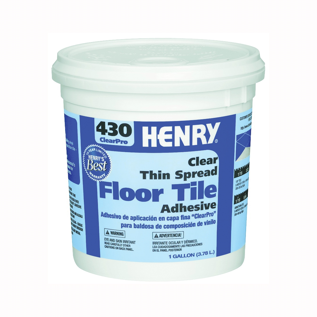 Picture of HENRY 430 ClearPro 12098 Floor Adhesive, Paste, Mild, Clear, 1 gal Package, Pail