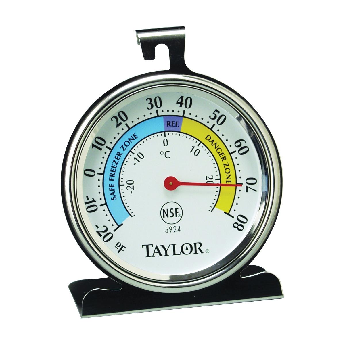 Picture of Taylor 5924 Fridge/Freezer Thermometer, -20 to 80 deg F, Analog Display, White