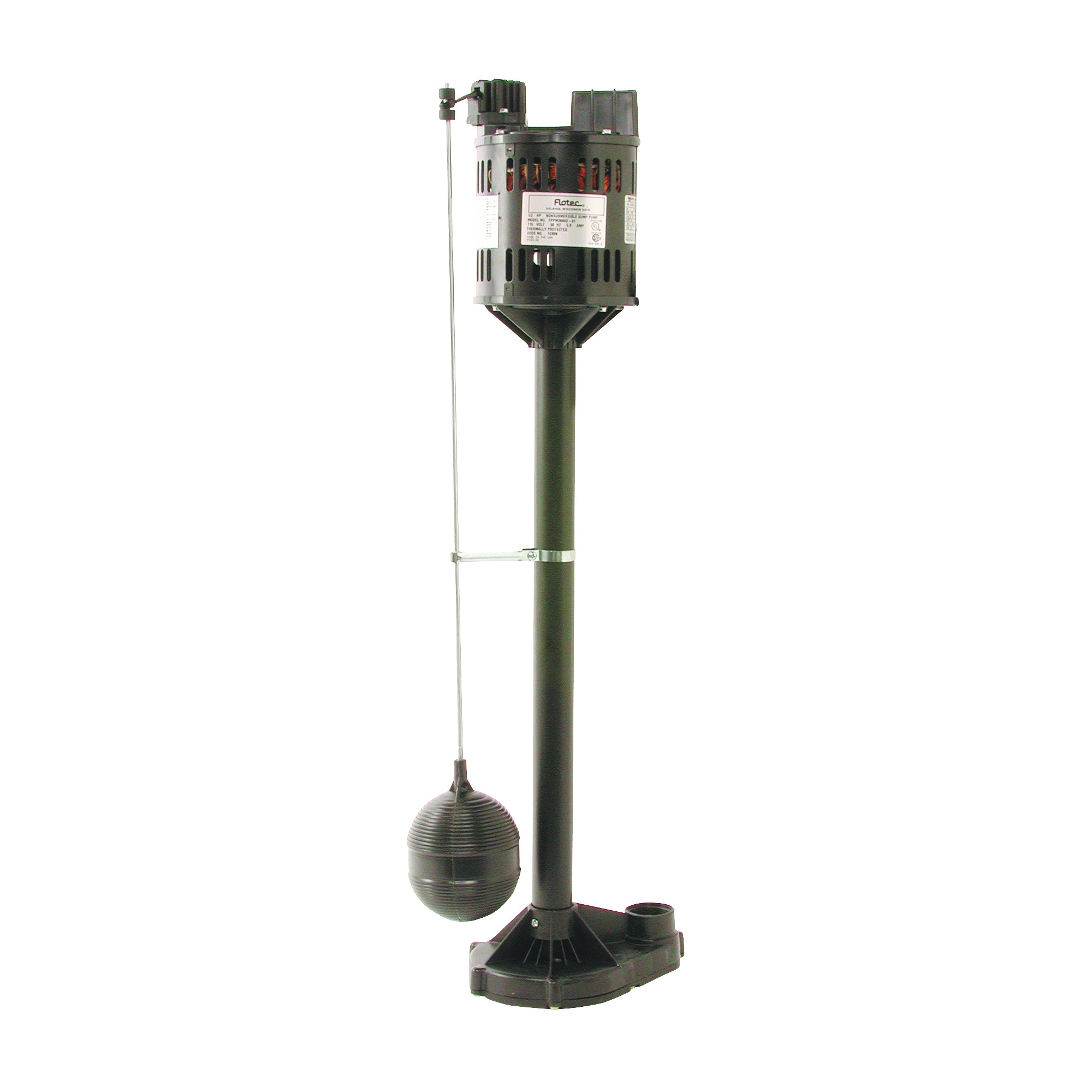 Picture of Flotec FPPM3600D-08 Sump Pump with Float Switch, 3.5 A, 115 V, 0.33 hp, 1-1/4 in Outlet, 3000 gph, Thermoplastic