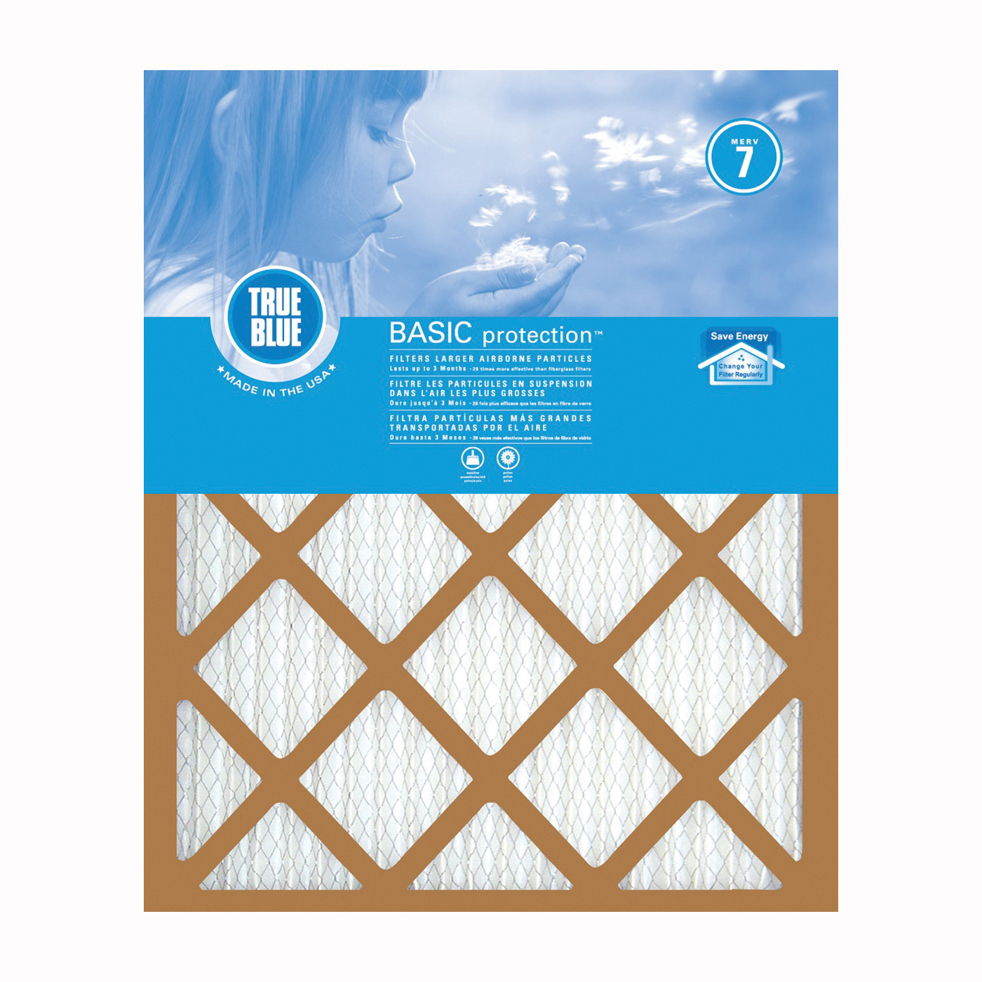 Picture of True Blue 216201 Air Filter, 20 in L, 16 in W, 7 MERV, 53.7 % Filter Efficiency, Synthetic Pleated Filter Media