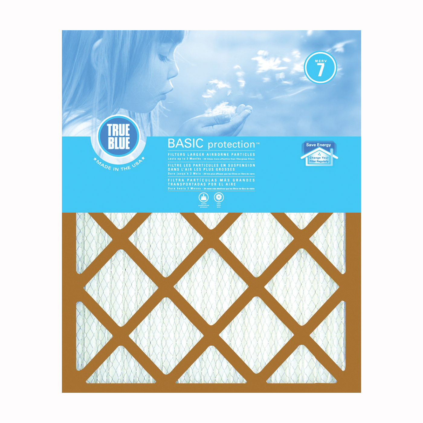 Picture of True Blue 216251 Air Filter, 25 in L, 16 in W, 7 MERV, 53.7 % Filter Efficiency, Synthetic Pleated Filter Media